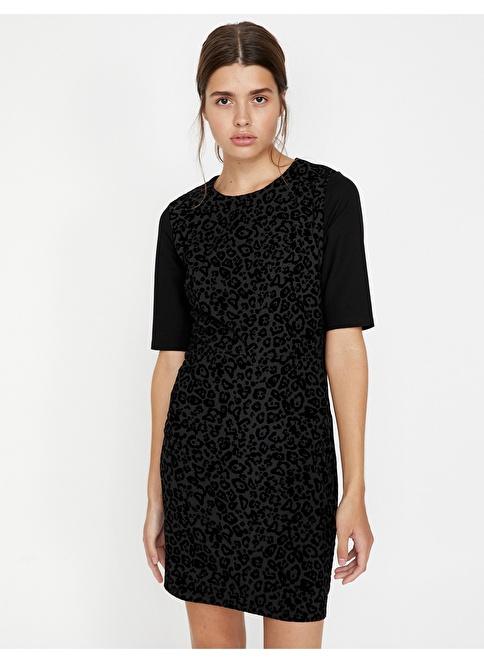 Koton Desenli Elbise Siyah